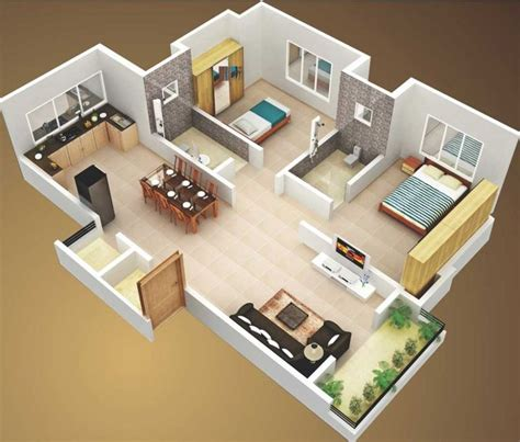 3 room 3d house plan 2 bedroom house plans designs 3d small house design ideas