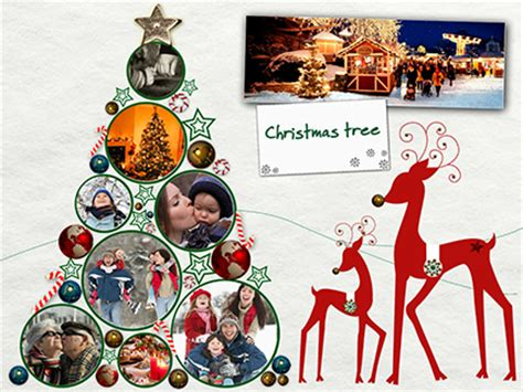 Online Collage And Ecard With Personal Photos And Videos Christmas Tree Tree Photo Collage Template