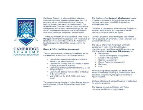 Cambridge Mba Curriculum by Cambridge Academy Pg Programs Phd Masters In Gcc Dubai