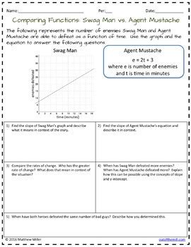 Comparing Functions Worksheet by 8 F 2 Comparing Functions Represented In Different Ways By