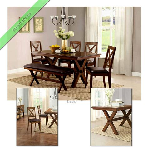 6 dining set maddox table chairs with bench wood