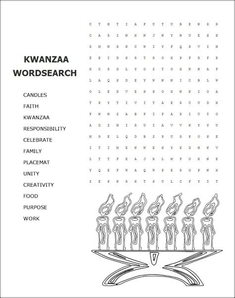 printable kwanzaa template kwanzaa word search