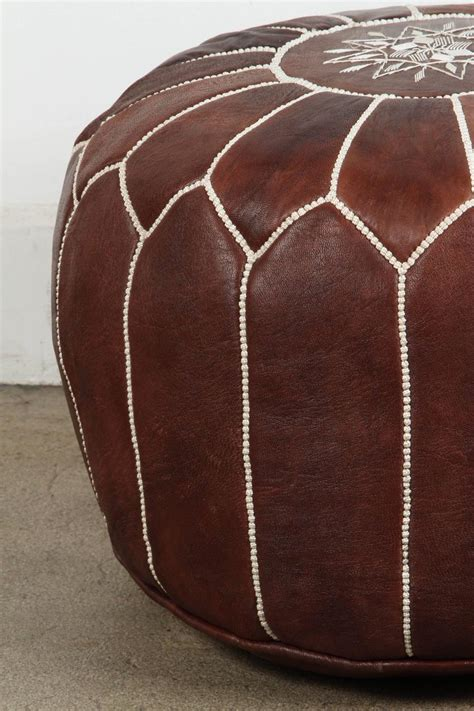 Moroccan Brown Leather Pouf For Sale At 1stdibs Moroccan Pouf Ottoman Sale