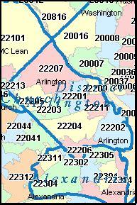 arlington zip code map arlington virginia va zip code map downloads