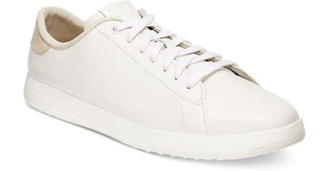 cole haan grand pro tennis lace up sneakers in white for lyst