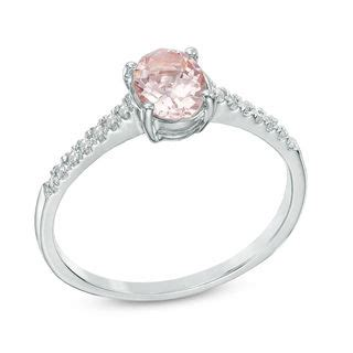 oval morganite and accent ring in 10k white gold