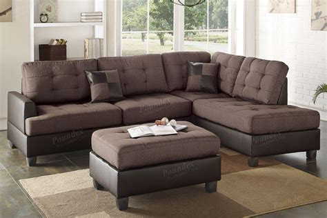 brown leather sectional with ottoman poundex ancel f6857 brown leather sectional sofa and