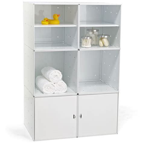 Bathroom Storage Containers by Enameled Qbo Steel Cube Bath Storage The Container Store