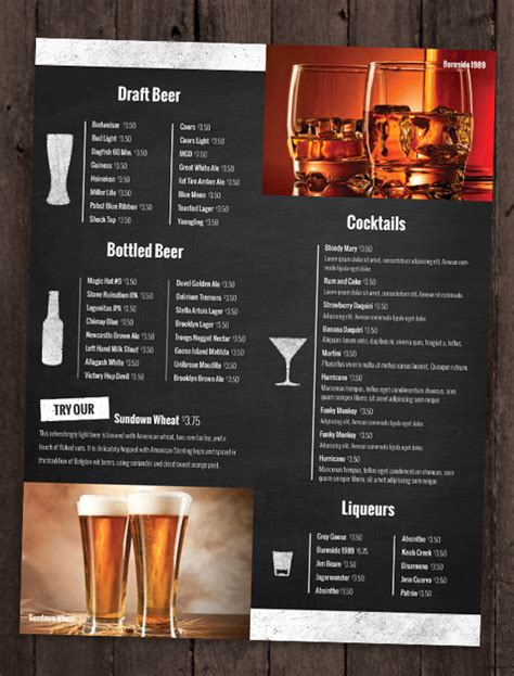 Best Menu Template 24 bar menu templates free sle exle format