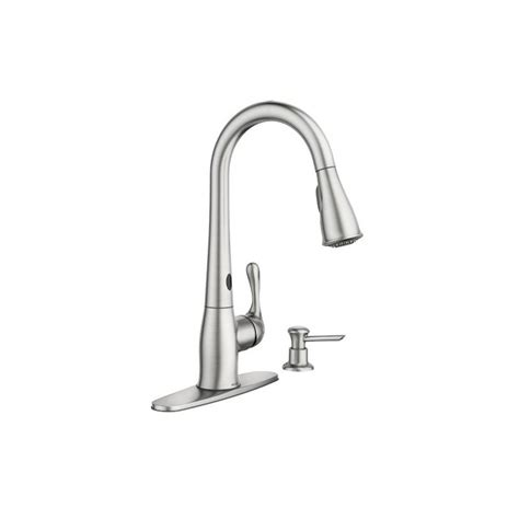 moen kitchen faucet with soap dispenser faucet 87340esrs in spot resist stainless by moen