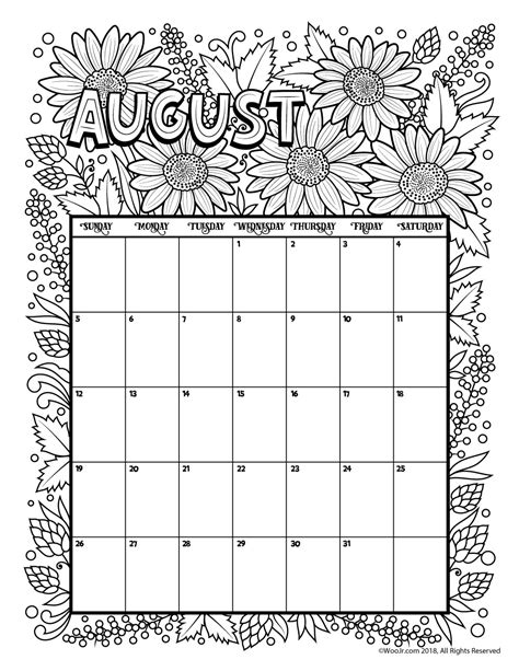 printable calendar 2018 to color august 2018 coloring calendar page woo jr kids activities