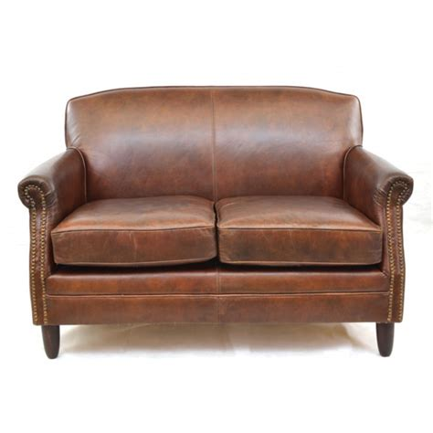 girton leather sofa 2 seater brown vintage style fads
