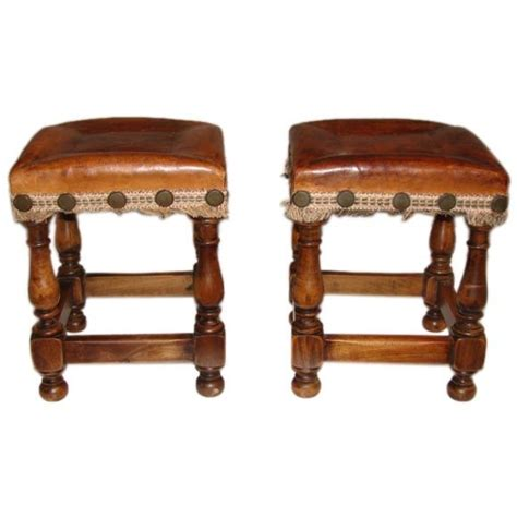 small leather bench pair of small english leather top benches at 1stdibs