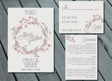 diy wedding invitation direction card rustic floral wreath wedding invitation suite with rsvp