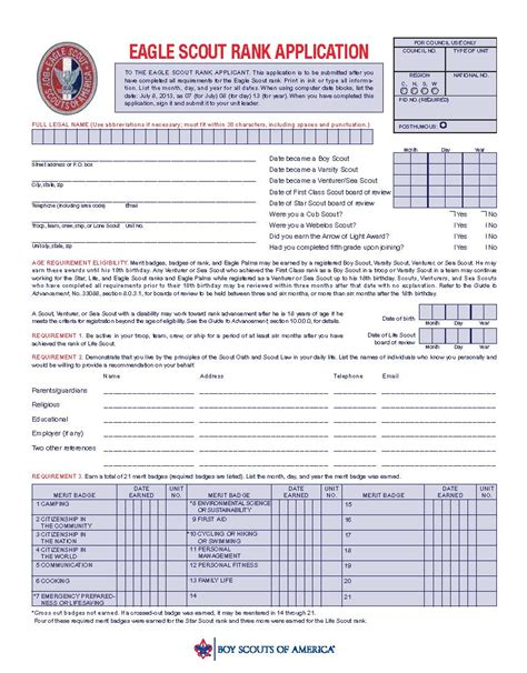 project workbook template eagle scout application checklist eaglecoach