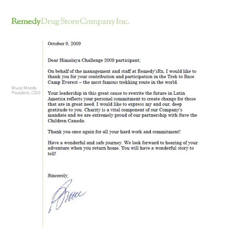 Thank You Letter For With Ceo Thank You Letter From Bruce Moody President Ceo Of