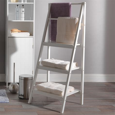 Casa Newport Ladder Bathroom Storage Shelf, White   Leekes