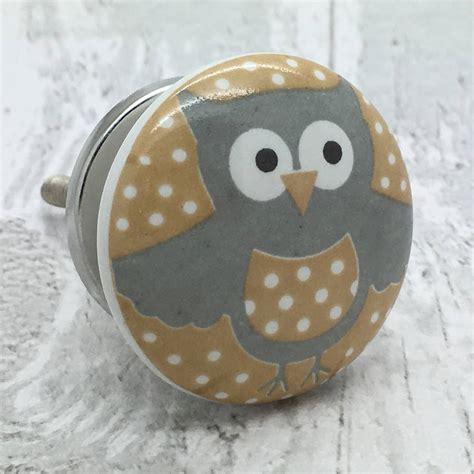 happy owl ceramic door knob cupboard handle by g decor