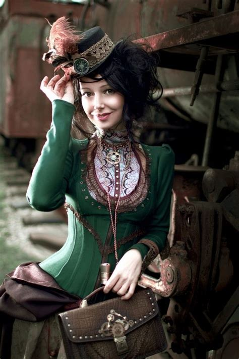 steam punk style steunk victorian dressed lady taking the equal of the