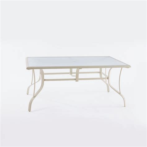 Patio Table Glass Replacement Home Depot Hton Bay Statesville Shell Rectangle Aluminum Outdoor