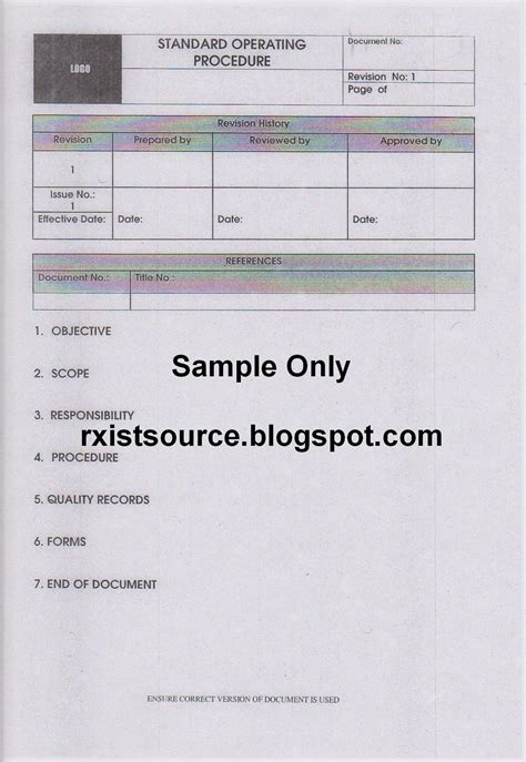 pharmacy standard operating procedures template pharmacy standard operating procedure sop for pharmacy