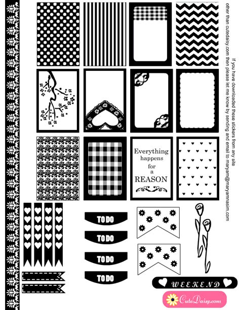 printable planner black and white black and white stickers for erin condren and happy planner