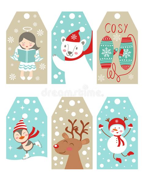 new year name tags and new year gift tags stock vector image
