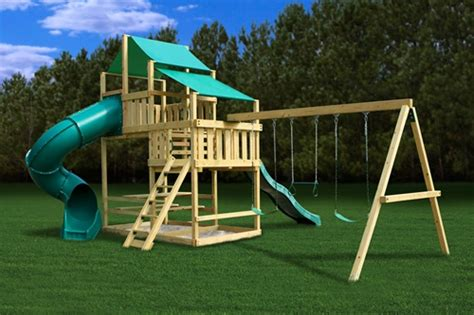 play swing set plans plan it play diy frontier fort swing set kit with swing beam