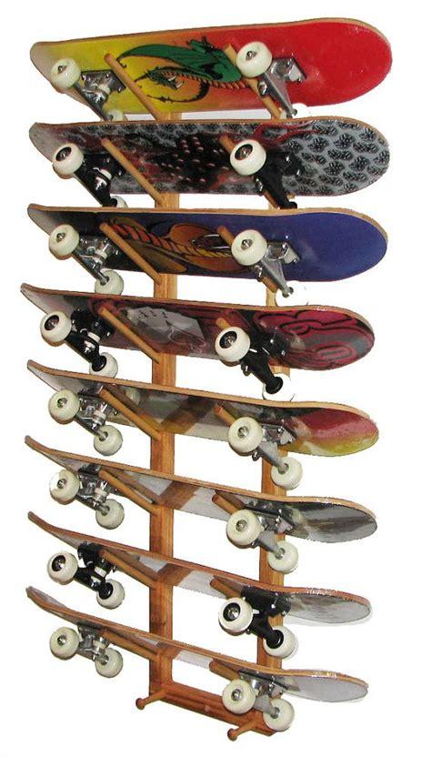 Skate Board Rack by Skateboard Wall Storage Rack 8 Boards Angle