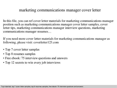 Marketing Communications Manager Cover Letter Marketing Communications Manager Cover Letter