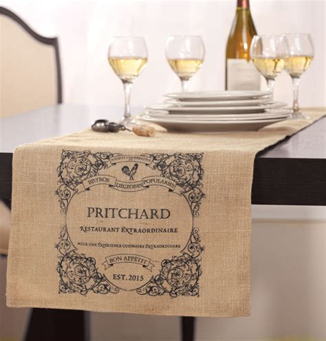 bistro personalized table runner burlap table runner