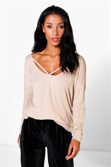 Strappy Sleeve Shirt boohoo womens emily sleeve strappy front oversized t