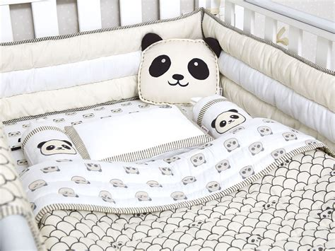 peekaboo panda organic crib bedding set baby bedding set