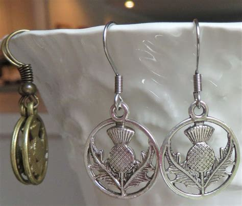 Handmade Scottish Jewellery - scottish thistle earrings handmade outlander inspired