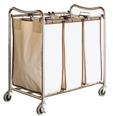 Decobros Heavy Duty 3 Bag Laundry Sorter Cart Three Laundry
