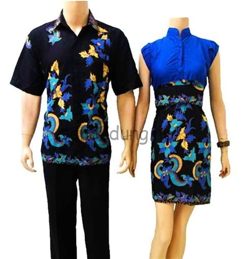 Baju Murah 855 sarimbit batik biru modern batik sekar