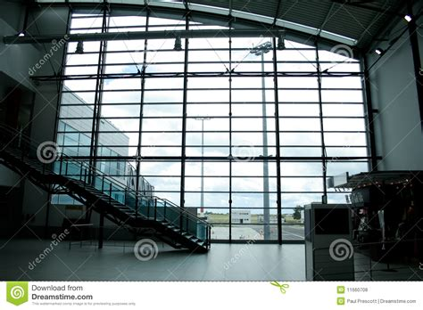 Mirror Glass Intl glass wall in international airport stock photo image