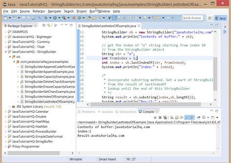 java tutorial with exles java stringbuilder lastindexof method exle
