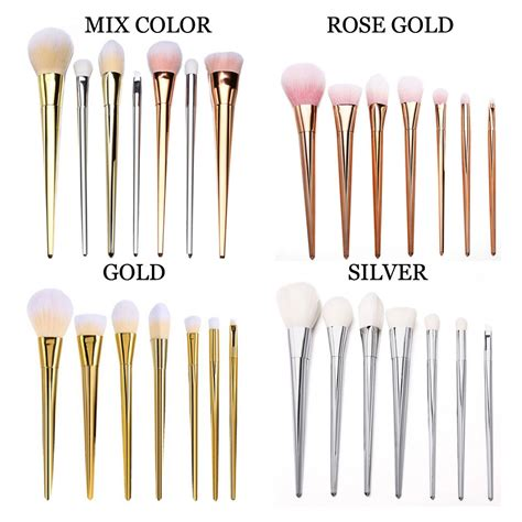 Makeup Brush Rosegold Brushes 7 Pcs gold makeup brushes bold metal blush 7pcs 12 pcs set kit collection ebay