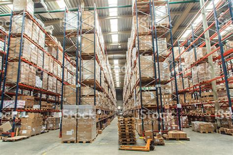 Adobe House Plans Warehouse Shelves With Goods Stock Photo Istock