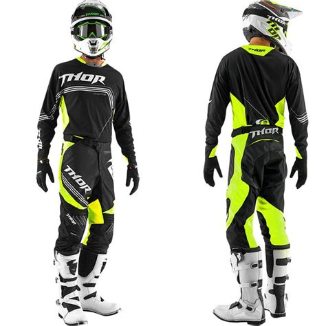 thor motocross tenue compl 232 te motocross thor mx core bend black yellow