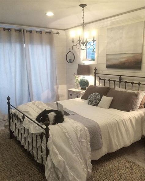 iron bed bedroom iron headboard in a neutral guest room bedroom design
