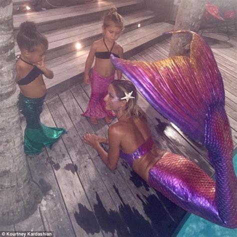 kim kardashian mermaid birthday kourtney kardashian shares snap of north west and cousin