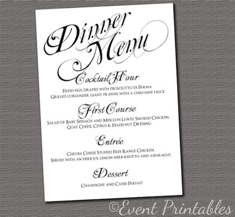elegant formal dinner menu ideas printable menu card diy wedding reception by eventprintables