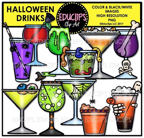 halloween drinks clipart halloween drinks clip art bundle color and b w welcome
