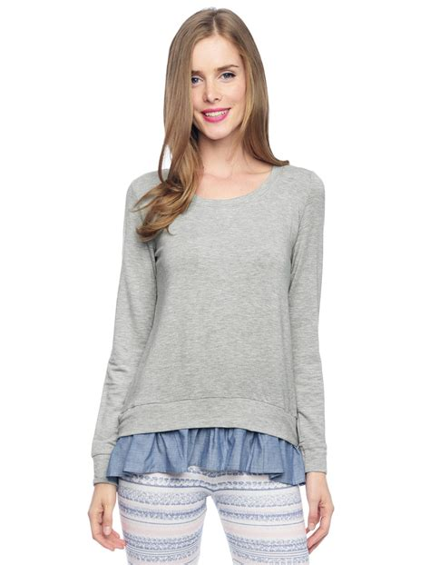 Setelan Minnie Wedges Vc splendid terry ruffle pullover in gray lyst