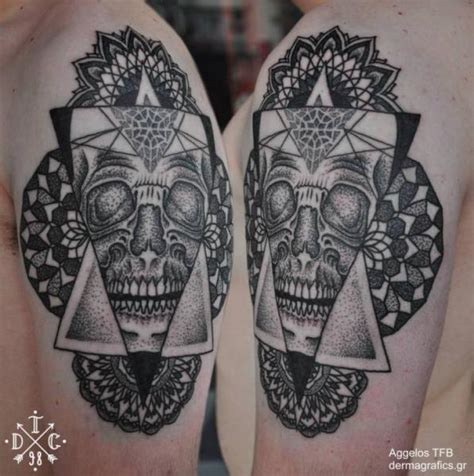 tattoo shoulder dotwork shoulder skull dotwork tattoo by dermagrafics