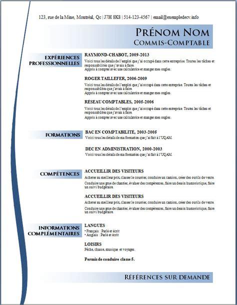 Modèle De Cv Professionnel Word by Exemple De Cv Professionnel 2013 Sle Resume