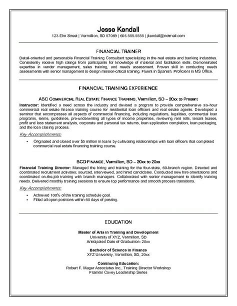 Trainer Resume Exle Financial Trainer Resume Free Sle