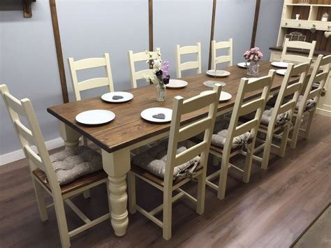 10 12 Seater Large Farmhouse Dining Table 10 Chairs Oak Dining Table Set For 10